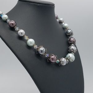 Jewelry - Imitation Pearls Beaded Necklace Glass Crystals